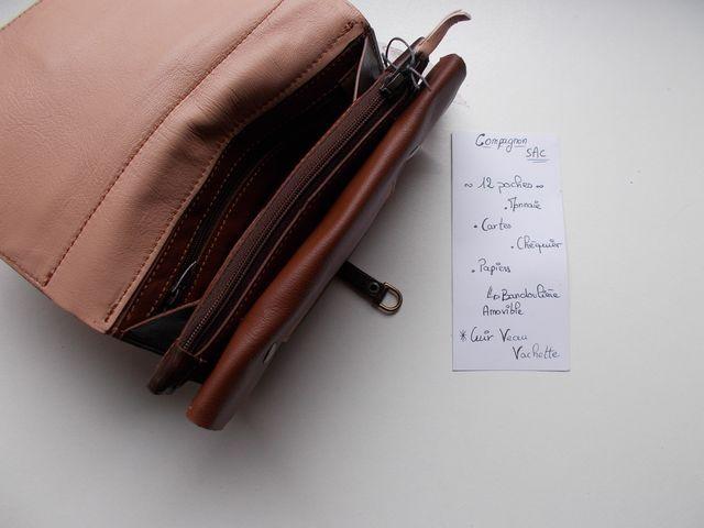 Compagnon cuir veau, agneau 160€ ou sac 180€