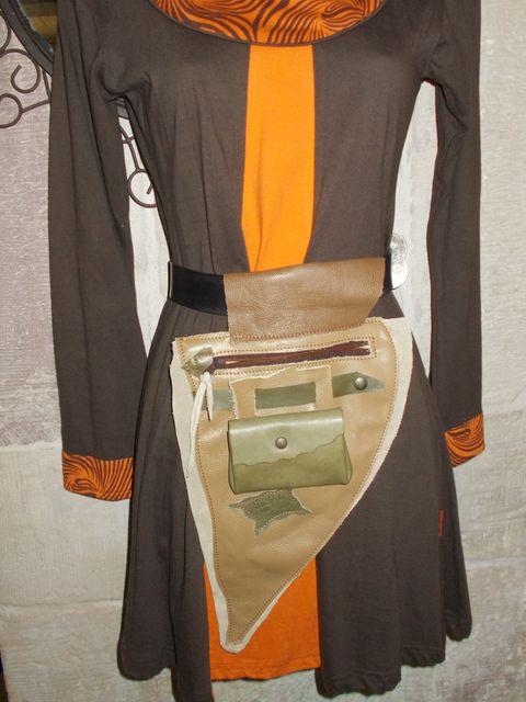 Besace, poche à porter à la ceinture+porte-monnaie / papiers amovible cuir vachette