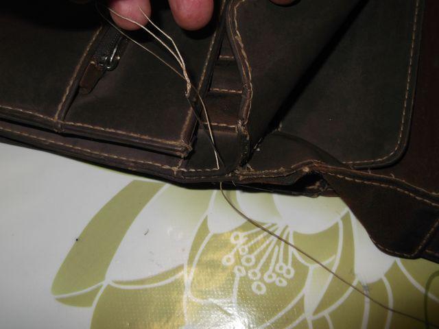 Réparation couture sellier des haut d'une besace cuir