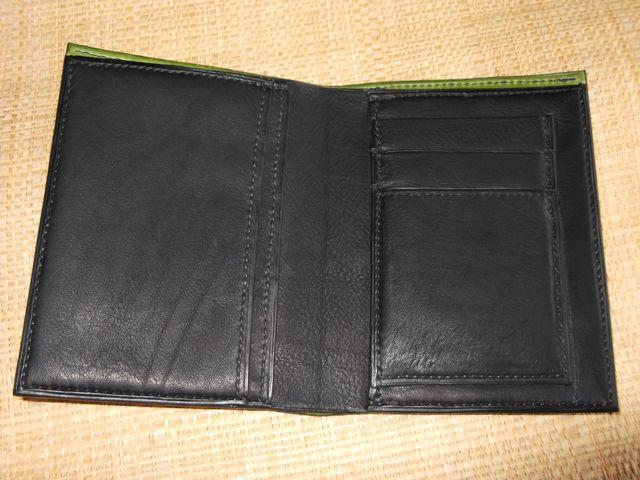 Porte feuille en cuir de lézard véritable , intérieur veau 7 poches