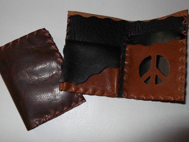 Porte carte avec petite poche monnaie Cuir vachette couture lacée