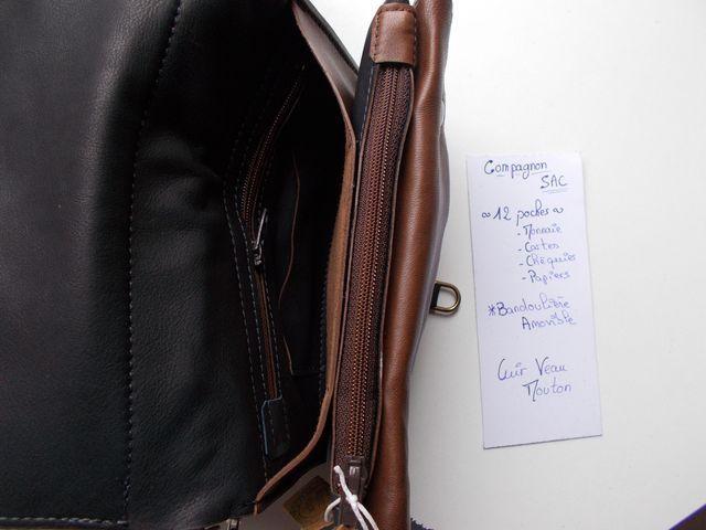 Compagnon cuir veau, mouton 160€ ou sac 180€