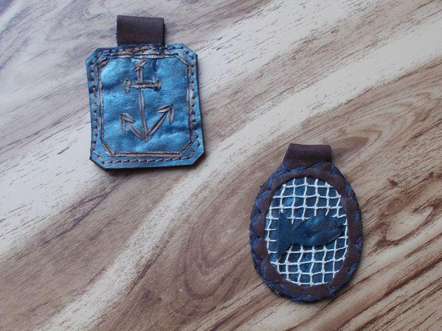 Projet prototype cuir d'esturgeon pendentif/porte-clèfs