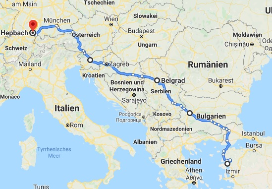 June Route from Germany to Turkey