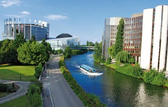 Géoénergies & Aquae Vision a adopté une famille de canards sur l'Ill à Strasbourg pour soutenir l'association Rêves. Vue sur le Parlement Européen.