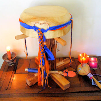 The Wind Horse Lightning Drum on a simple altar