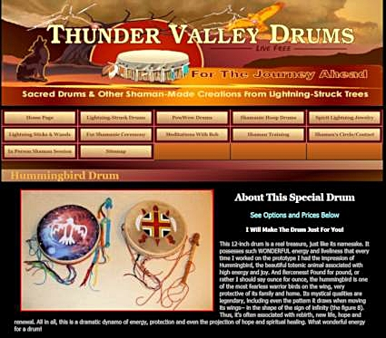 The Hummingbird Drum page as it is today on the Thunder Valley Drums Website