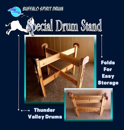 The Buffalo Spirit Drum's cedar wood stand folds for convenient storage, Buffaloes and all!