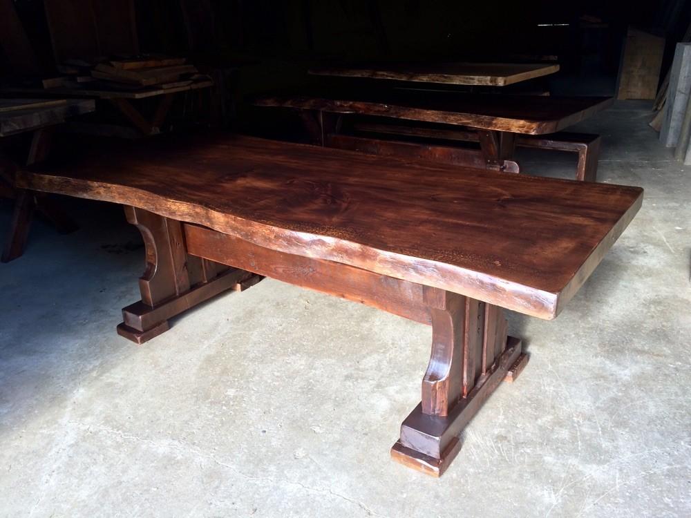 Live edge trestle table