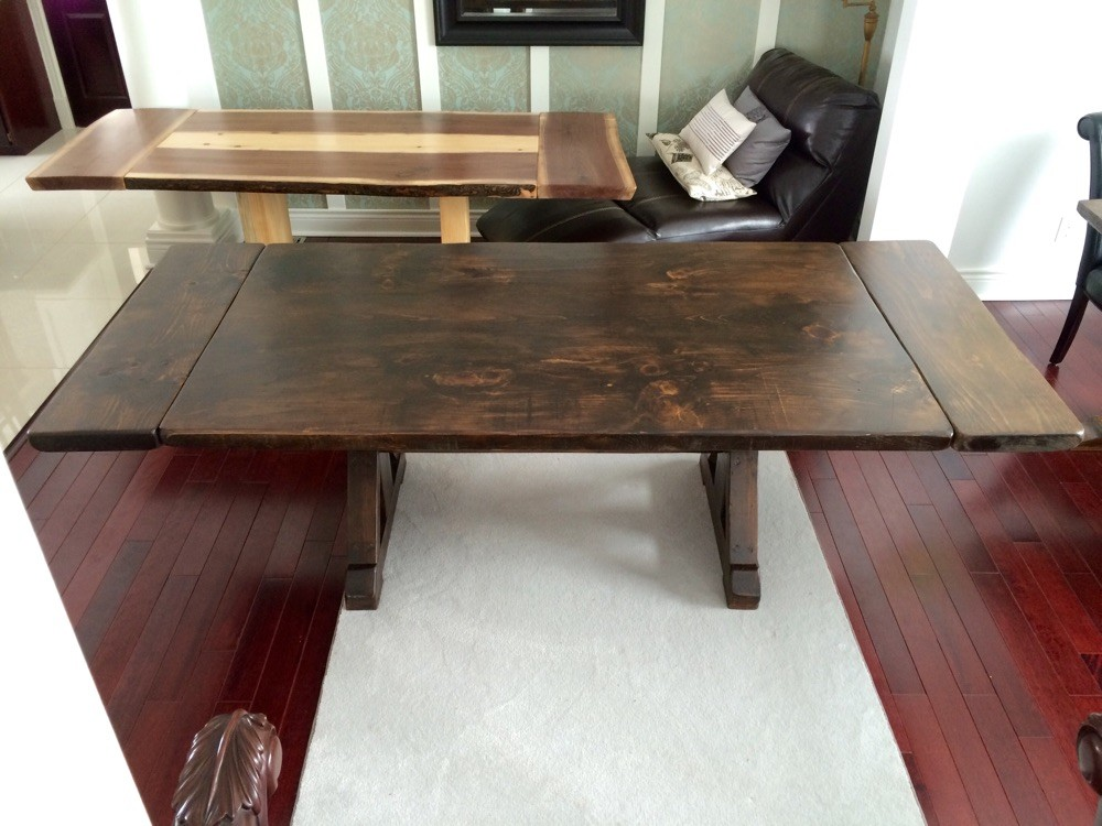 Dark walnut stain trestle sawbuck base with extensions
