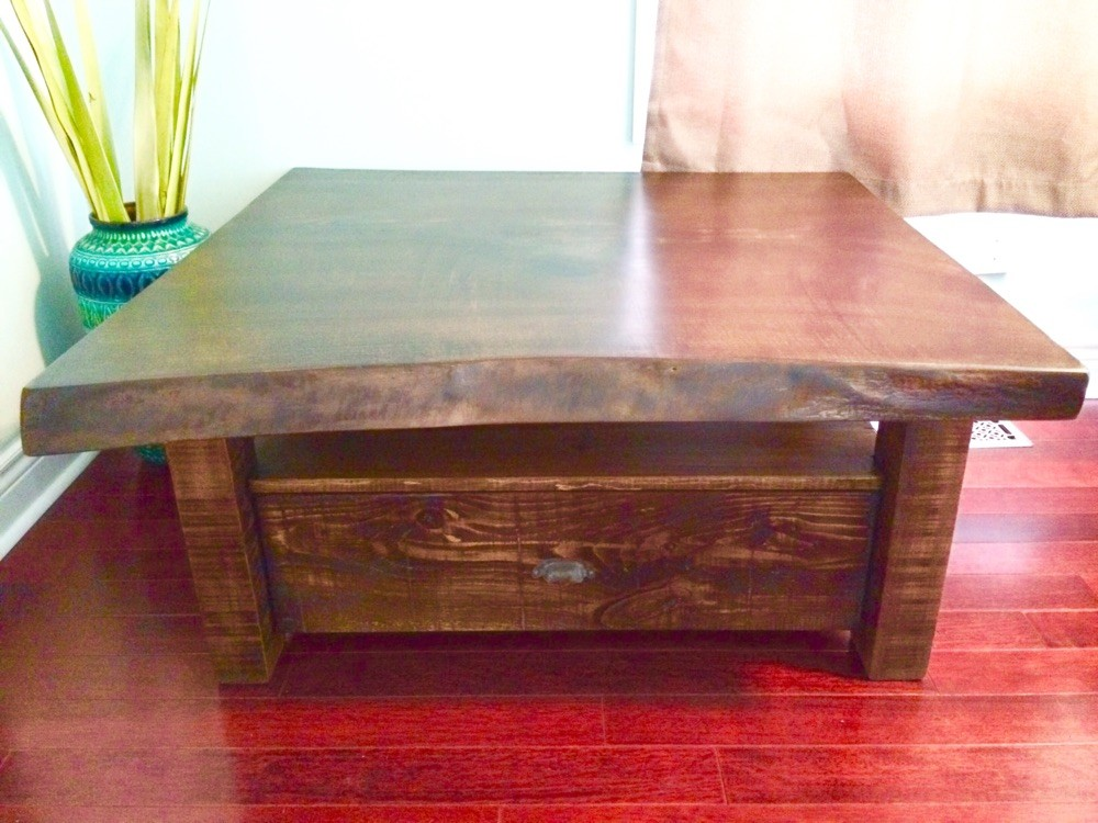 Live edge coffee table with drawer