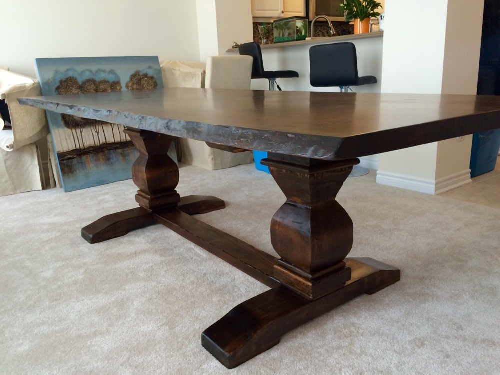 Live edge cherry table with violin pedestal base