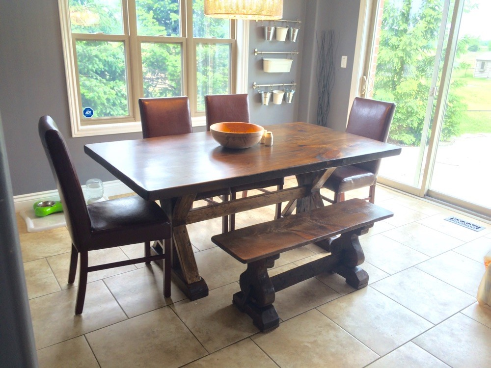 Sawbuck table and bench dark stain