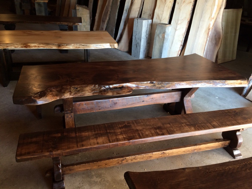 Live edge trestle and bench