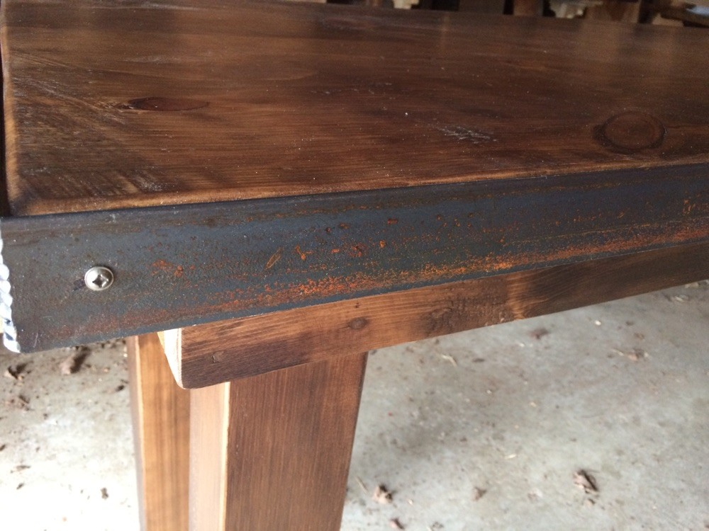 Rustic pine with metal strapping