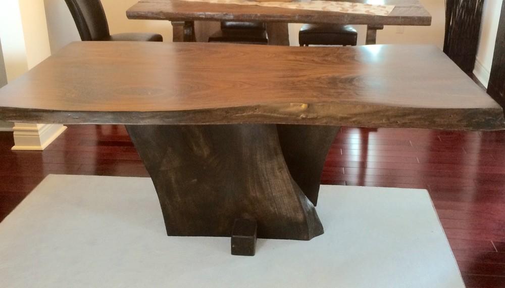 Live edge tulip wood table dark stain