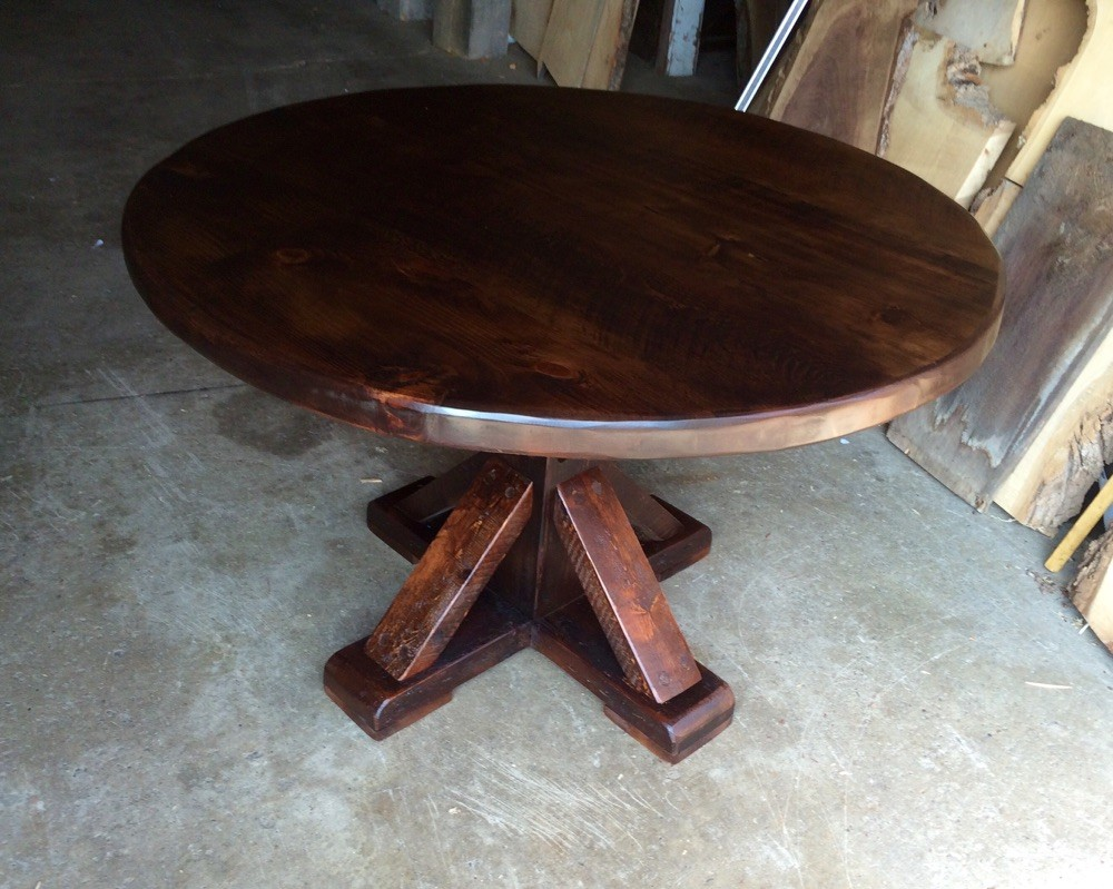 Round rustic pine table