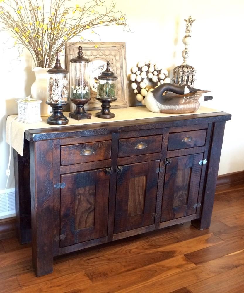 Pine cabinet with dark walnut stain