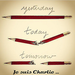 Der Zeichenstift des Karikaturisten als Symbol der Toleranz. Bildkomposition Jacinthe C./flickr