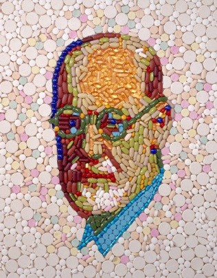 Bild Jason Mecier Sigmund Freud portrait mosaic of pills