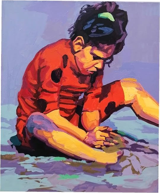 "Anton Petz, ""Beach-Kid"", 2018-19, Öl auf Lw., 60 x 50 cm"