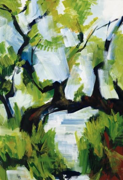 Bernd Zimmer, Bach. Überhängender Baum, 2008, Acryl auf Leinwand, 190 x130 cm