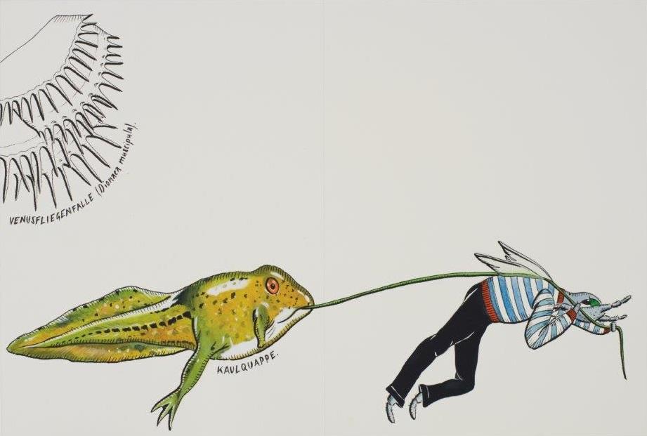 "Deborah Sengl, ""Fiffy + Maurice, Blatt 11, Aquarell, 28 x 42 cm"