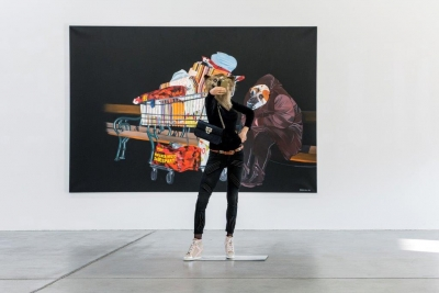 "Deborah Sengl, ""Home Story"", 2014/15, Acryl auf Leinwand, Präparat, Wachs, Textil"