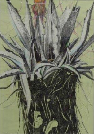 "Alois Mosbacher, ""frühe Lust 3"", Mischtechnik auf Papier, 100x70 cm, 2015"
