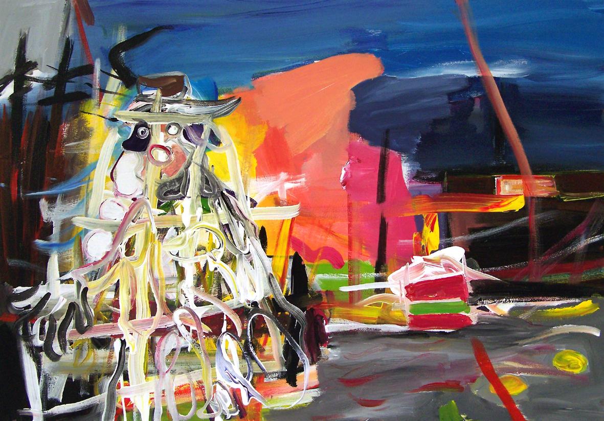 Oliver Kropf, DAS EXPERIMENT, 70 x 100 cm, Acryl auf Baumwolle 2019