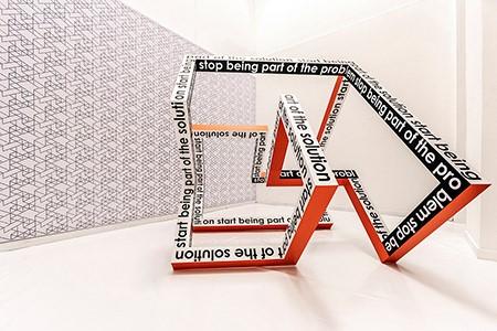 Lucia Dellefant, start stop,  195 x 239 x 195cm,  2018,  Aluminium gepulvert, Folie, Lack