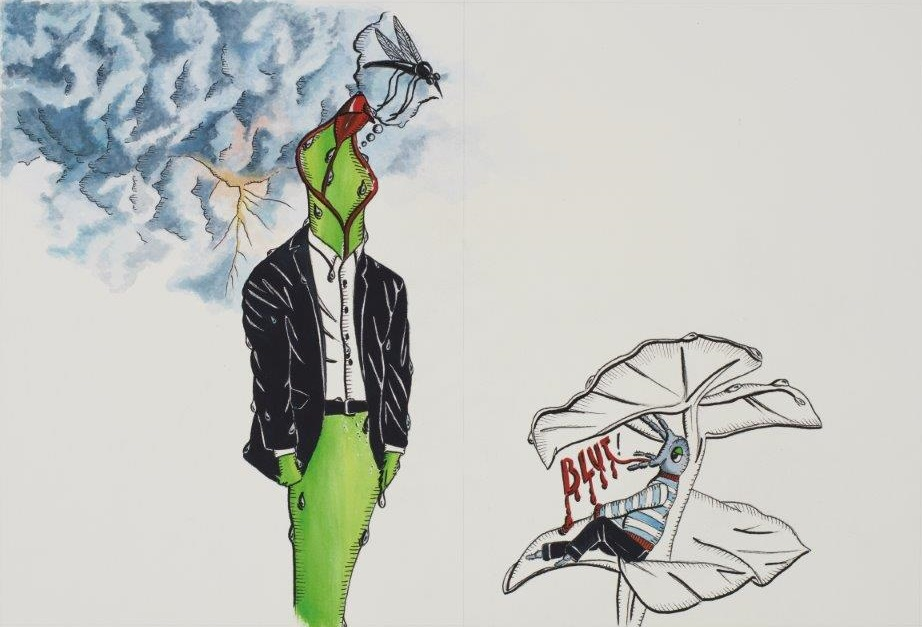 "Deborah Sengl, ""Fiffy + Maurice, Blatt 13, Aquarell, 28 x 42 cm"
