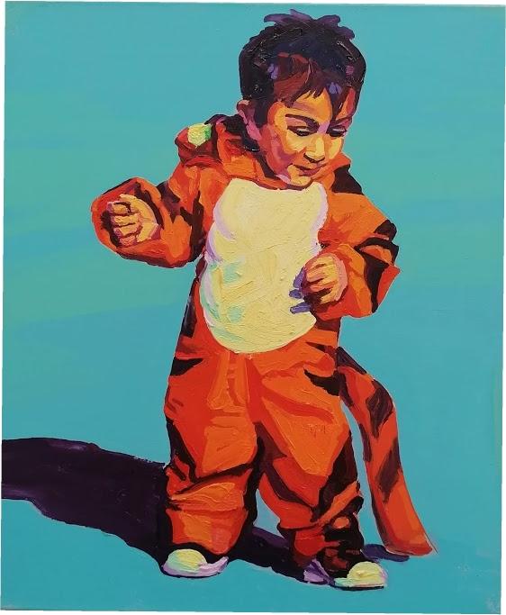 """Anton Petz, """"Carneval-Kid"""", 2019, Öl auf Lw., 60 x 50 cm"""