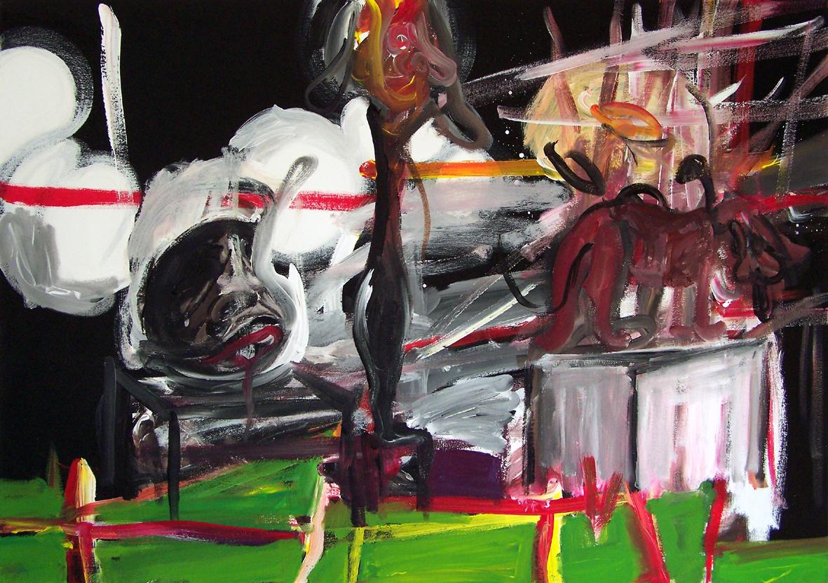 Oliver Kropf, DENKMALGARTEN, 70 x 100 cm, Acryl auf Baumwolle 2019