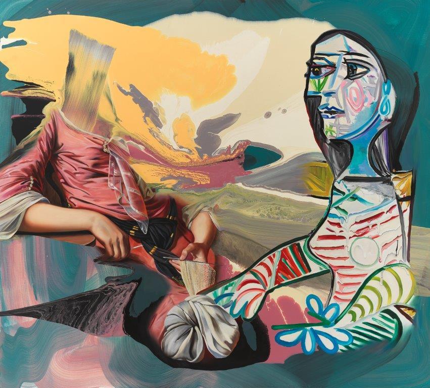 """""""Strong Arms"""", 180 x 200 cm, 2018, Öl und Mischtechnnik auf Leinen"""