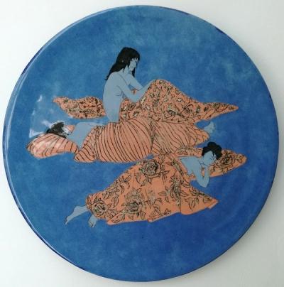 """Grita Götze, """"Frauenruheraum"""", Keramik, Engobe-Malerei"""