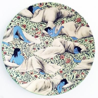 """Grita Götze, """"Der Schlaf"""", Keramik, Engobemalerei"""