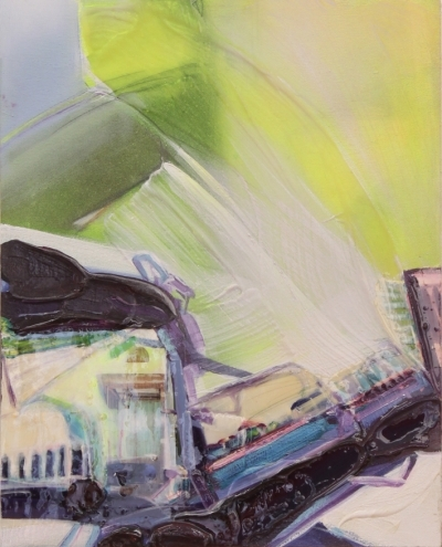 """Yvette Gellis, """"Transport Interior """", Mischtechnik auf Leinwand, 50x40cm"""