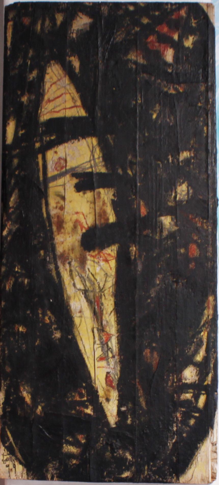 """Eduard Bousrd Bangerl   Titel : """"o.T."""", 1992   Technik : Mischtechnik auf Holzfundstück Format : 100 x 49 cm"""