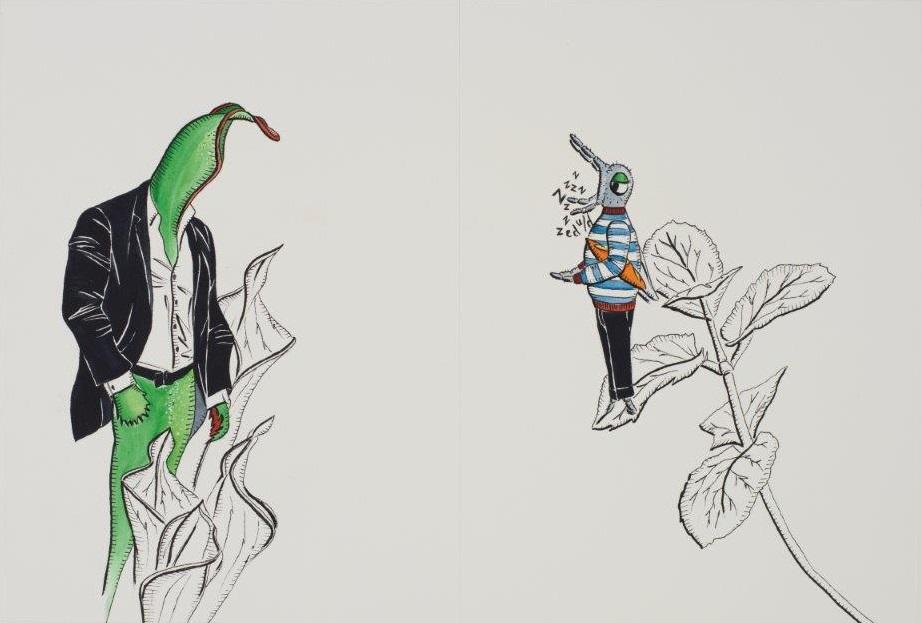 "Deborah Sengl, ""Fiffy + Maurice, Blatt 6, Aquarell, 28 x 42 cm"