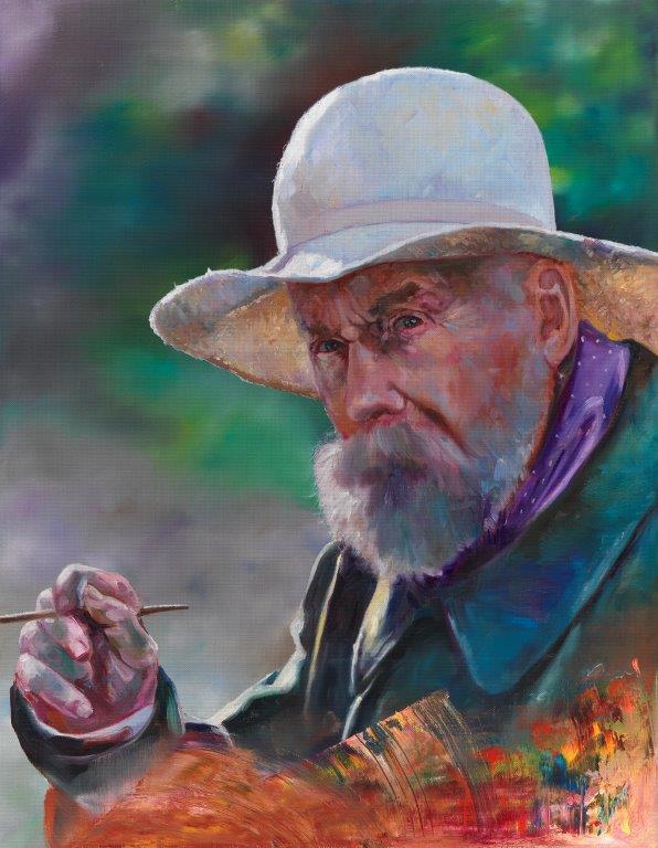 """11) Aus der Serie """"Playing Painter – Renoir"""", 63 x 50cm, 2019, Öl auf Leinen"""