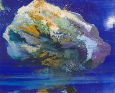 Bernd Zimmer, Fliegender Stein 3, Acryl auf Leinwand, 130 x 160 cm
