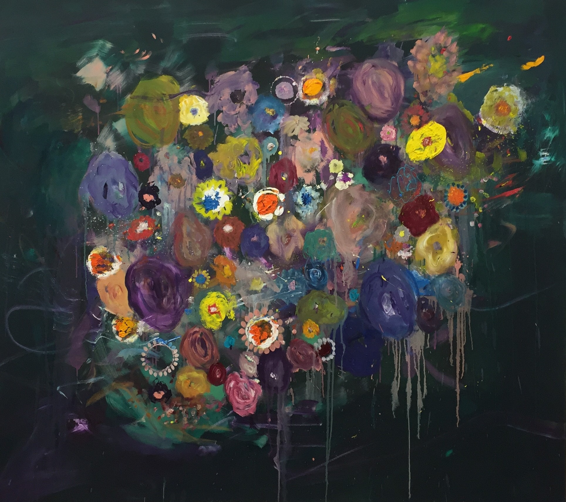 "Ronald Kodritsch, ""punky flowers, (Biing Ronnie Klimtovich)"", Öl auf Leinwand, 180 x 160 cm, 2019🔴"
