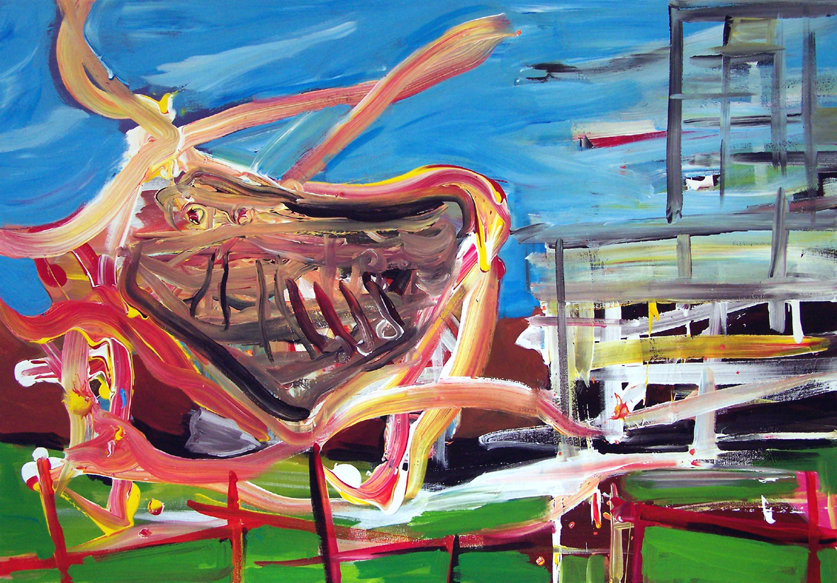 Oliver Kropf, DENKMAL 10, 70 x 100 cm, Acryl auf Baumwolle 2019
