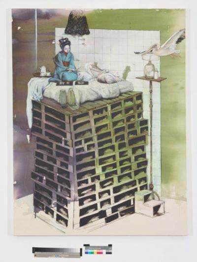 INDRA., Teezeremonie, 170 cm x 130 cm, Mischtechnik auf Baumwolle, 2016