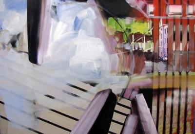 "Yvette Gellis, ""Transport #3"" - 2011 Öl, Acryl, Fotocollage auf Leinwand 111.76 x 162.56 cm"