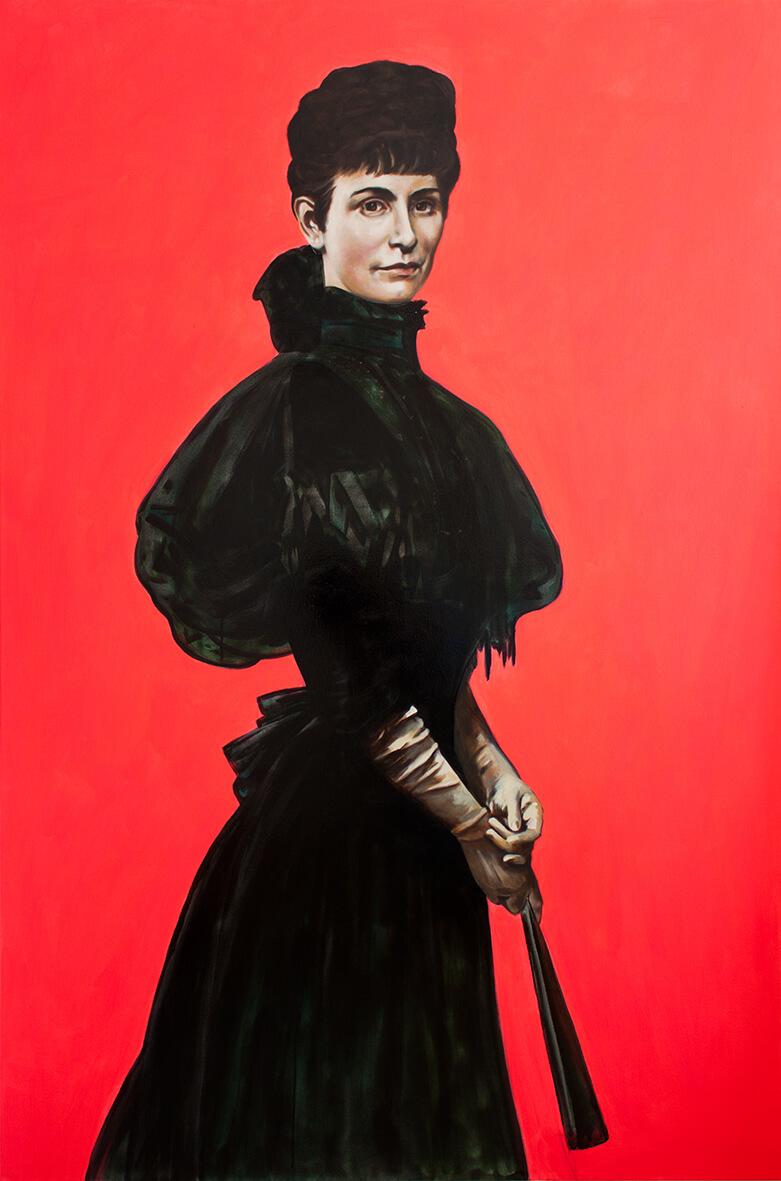 Katharina Karner, Irene Andessner als Kaiserin Elisabeth nach Gyula Benczúr (1899) , Öl, Acryl u. Lack auf Leinwand, 180 x 120 cm, 2018