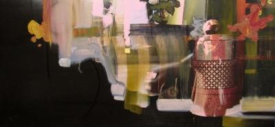 "Yvette Gellis, ""Vienna Window #2"" Öl, Acryl, Fotocollage auf Leinwand, 50x107 cm, 2011"