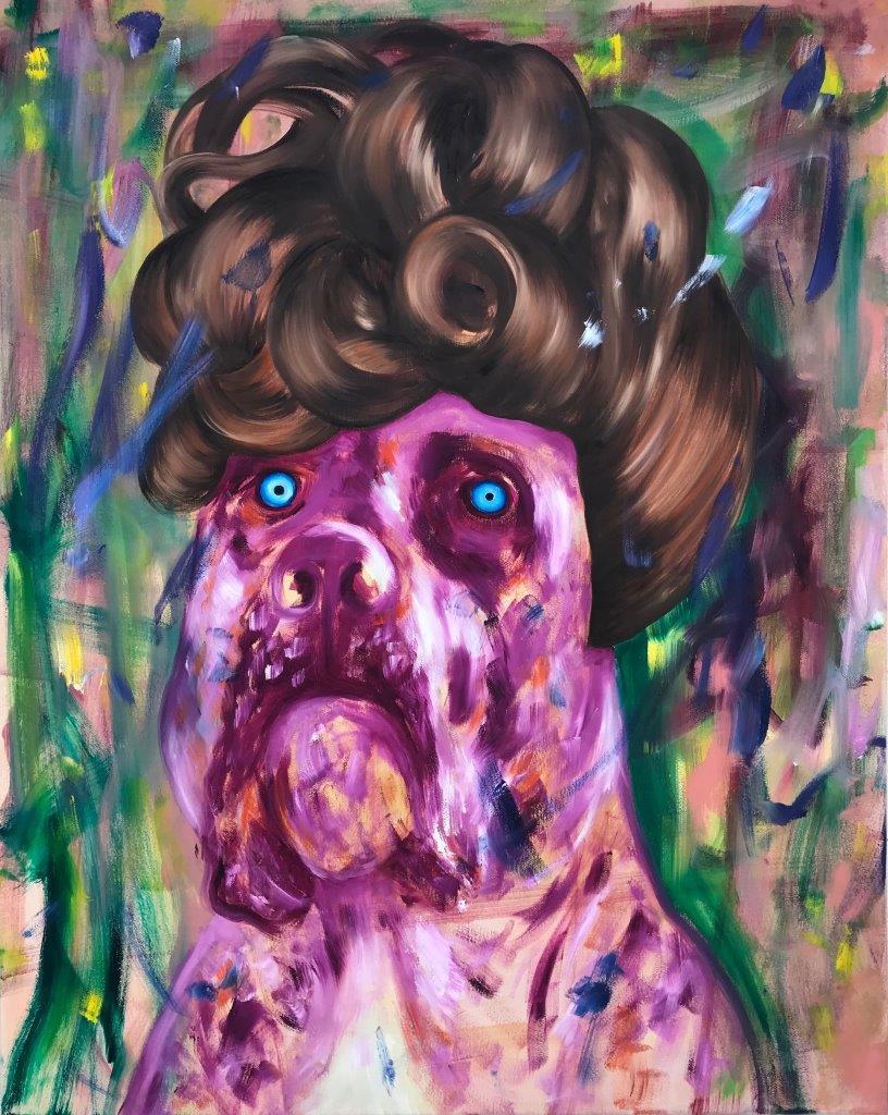 "Ronald Kodritsch, ""Bastard, viktorianisch pink"", Öl auf Leinwand, 100 x 80 cm, 2019"