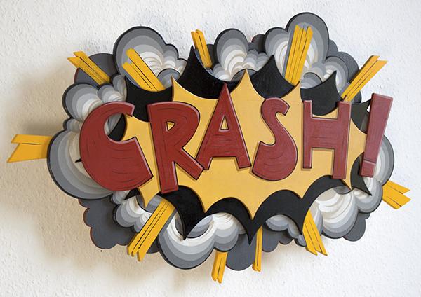 """Teer, """"CRASH!"""", 75x45cm  Acryl auf Holz, dekupiert, mehrere Schichten aufeinander gesetzt  2013"""